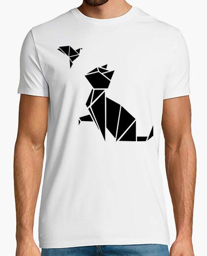 T-shirt origami: il gatto & l'uccello