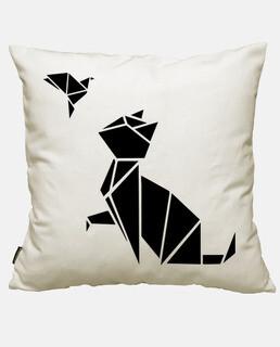 origami: katze und vogel
