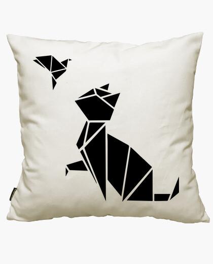 Housse de coussin origamis: le chat et l'oiseau