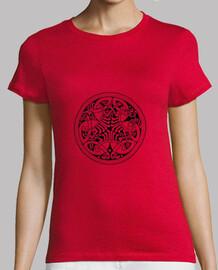 ornement celtique, fille, rouge