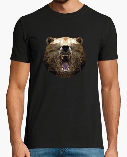 T-shirt orso arrabbiato su disegno di low poly
