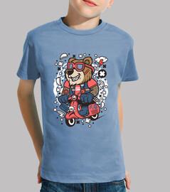 orso del motorino del cartoni animati gioventù della t-shirt