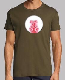Oso rojo agujero. Camiseta chico retro color chocolate