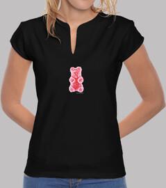 Oso rojo. Camiseta chica china color negro