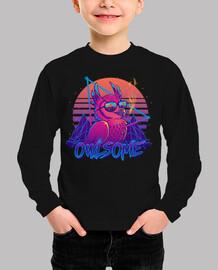 Owlsome - Owl Awesome Bird Retrowave 80 - Kids Shirt