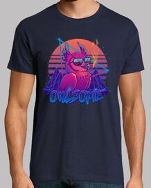 owlsome - owl awesome bird retrowave 80s - camisa para hombre