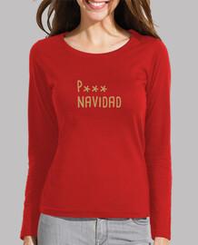 P--- Navidad - Camiseta de manga larga mujer