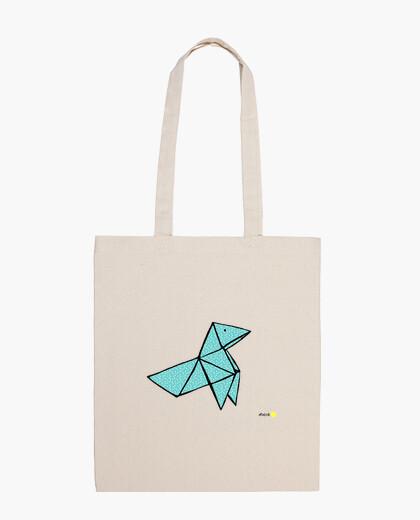 Bolsa pajarita azul verdoso puntos blancos bolso