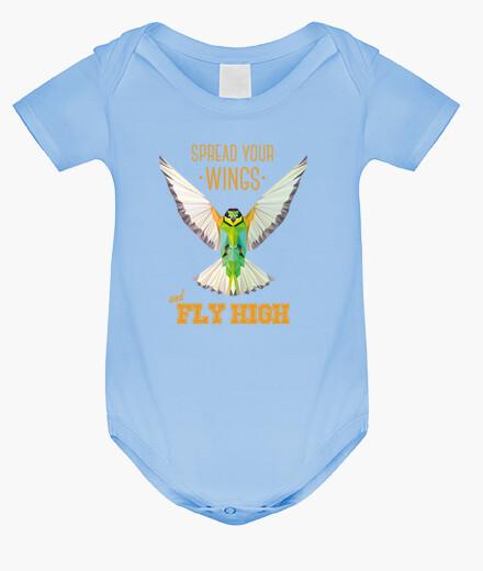 Ropa infantil Pájaro - geometría. Texto: Despliega tu