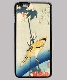 Pájaro amarillo e hibisco