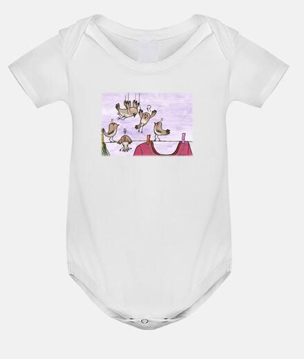 PÁJAROS KAMIKAZEE body bebé blanco