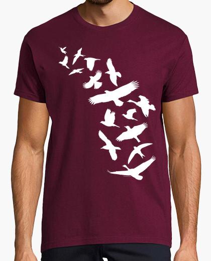 Camiseta Pájaros volando - blanco