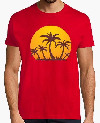 Camiseta palmeras y la puesta del sol