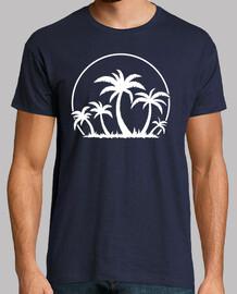 palmeras y puesta de sol en blanco