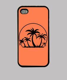 palmeras y puesta de sol en negro