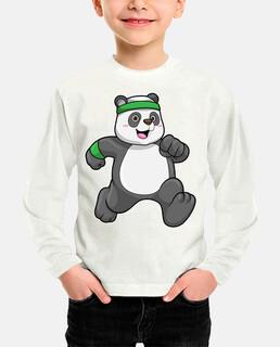 panda haciendo jogging con diadema