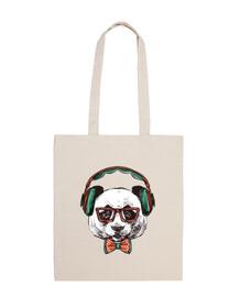 panda hipster con gafas y cascos
