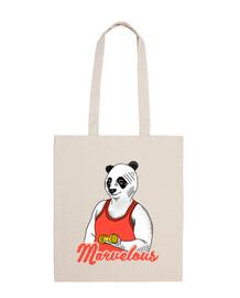 panda marvelous workout - 100% cotton fabric bag