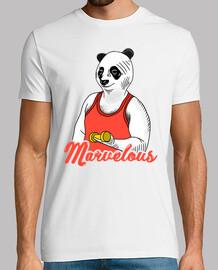 Panda Marvelous Workout  - Hombre, manga corta, blanco, calidad extra
