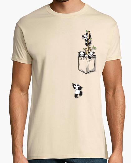 Camiseta pandas bolsillo