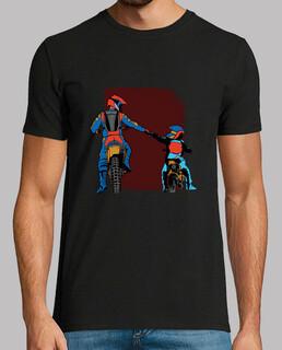 papà e figlio moto cross