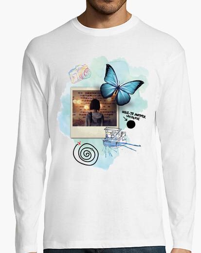Tee-shirt papillon - photo - la vie est étrange (blanc)