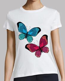 papillons bleus et roses