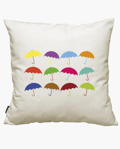 Housse de coussin parapluies colorés
