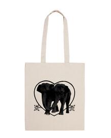 Pareja de elefantes en bolso