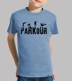 Parkour Niño, manga corta, celeste