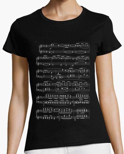 Camiseta Partitura Negro Mujer
