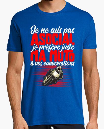 Tee-shirt Pas associal humour motard
