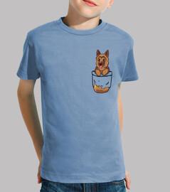 pastore tedesco carino tascabile - camicia per bambini
