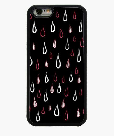 Funda iPhone 6 / 6S patrón de gotas de lluvia blanco y rojo