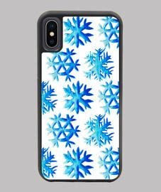 patrón de copo de nieve acuarela azul