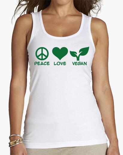 Camiseta paz amor vegano