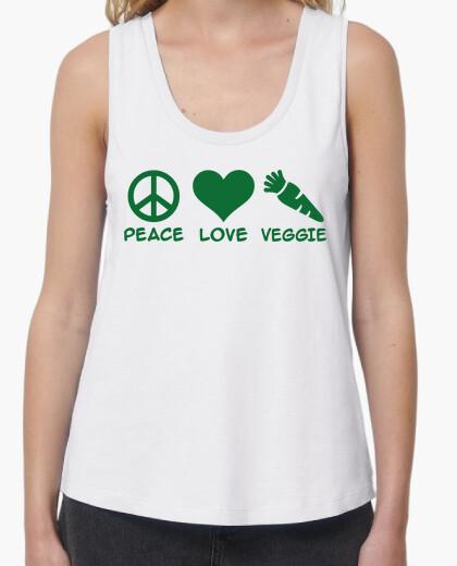 Camiseta paz amor vegetariano