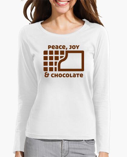 Camiseta Peace, joy and chocolate