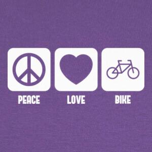 Tee-shirts Peace, Love and Bike