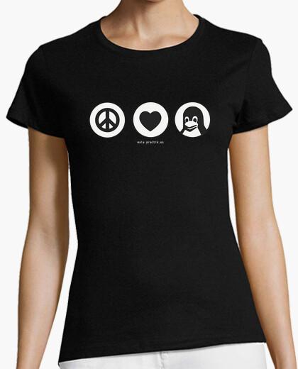 Camiseta peace, love, linux @shopbebote