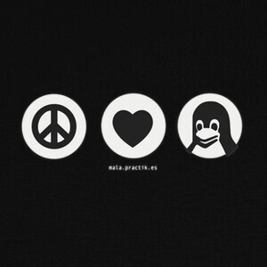Camisetas peace, love, linux @shopbebote