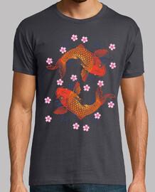 Peces Koi y Flores de Cerezo