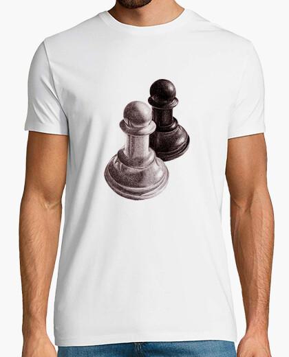 T-shirt pedine degli scacchi bianco e nero tee