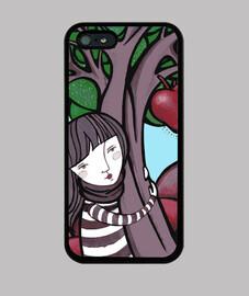 peinture maman nature - étreinte, arbre, coeur - étui iphone 5 / 5s, noir