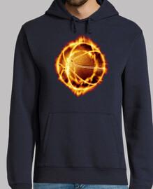 Pelota de basket en llamas