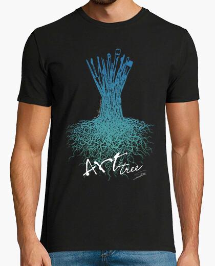 T-shirt pennelli dell'albero / uomo, manica corta, nero, qualità extra