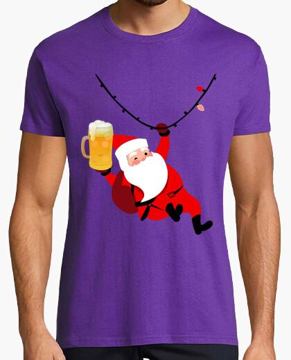 Tee-shirt père noël avec bière