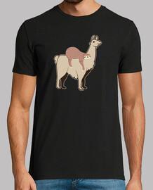 Perezoso Caricatura Cabalga Llama Alpaca Hombre, manga corta, negra, calidad extra