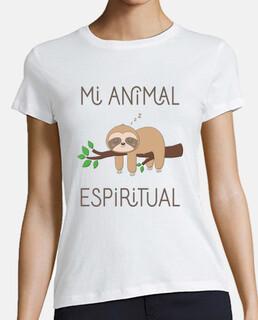 Perezoso, Mi Animal Espiritual Camiseta Mujer, manga corta, blanca, calidad premium