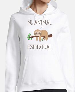 Perezoso, Mi Animal Espiritual Mujer, sudadera con capucha, blanco